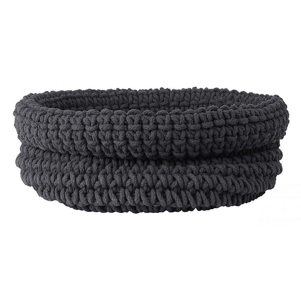 Tmavě šedý pletený bavlněný košík Blomus, ø38cm