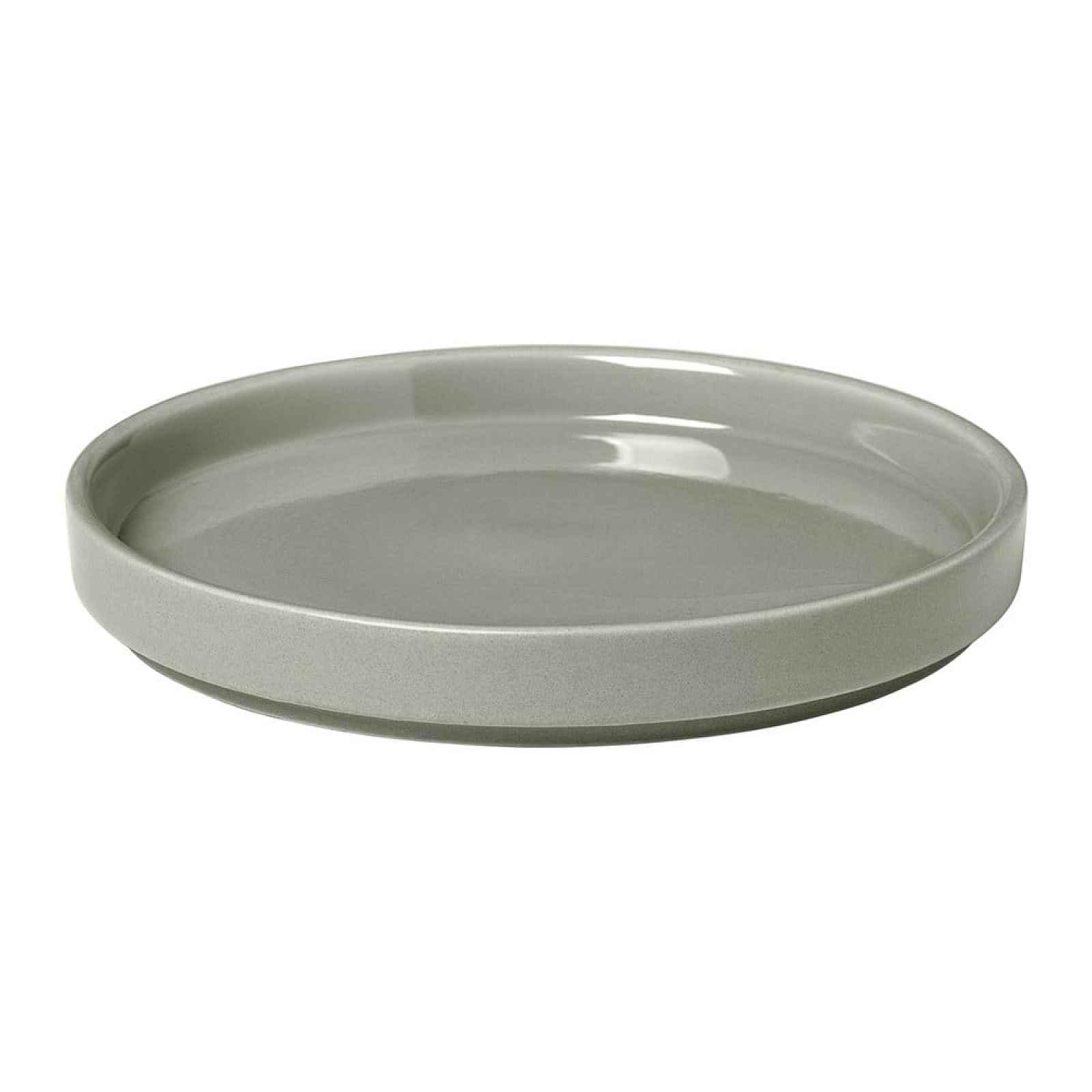 Světle šedý keramický talíř Blomus Pilar,ø14cm