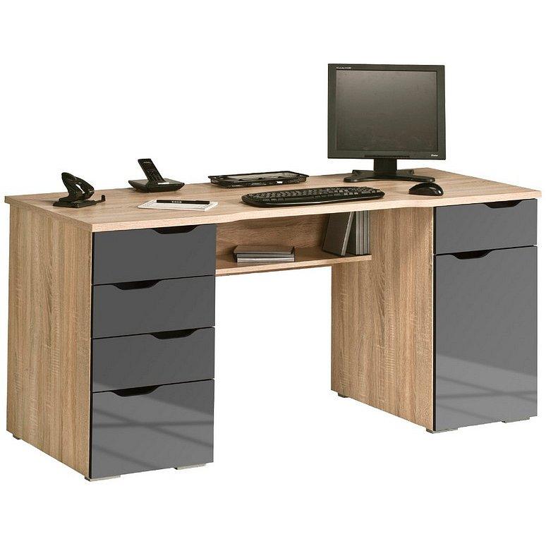 Psací stůl Model 9539, dub sonoma/šedý lesk