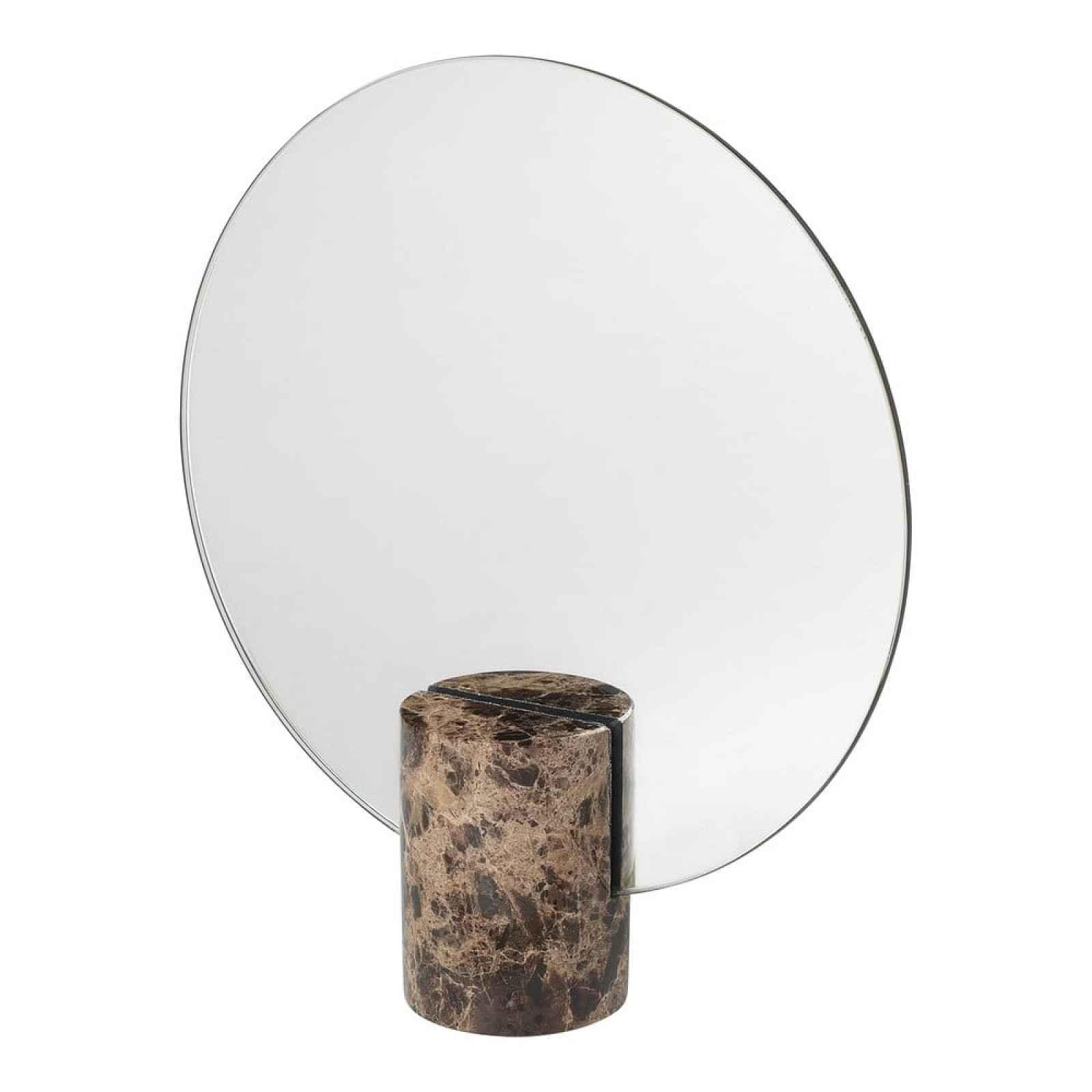 Zrcátko s hnědým mramorovým podstavcem Blomus Marble