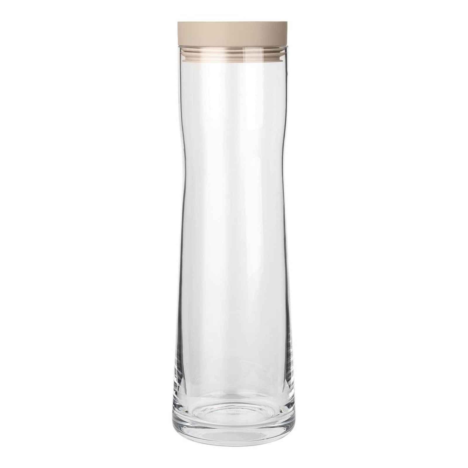 Skleněná karafa na vodu s béžovým silikonovým víčkem Blomus Aqua,1l