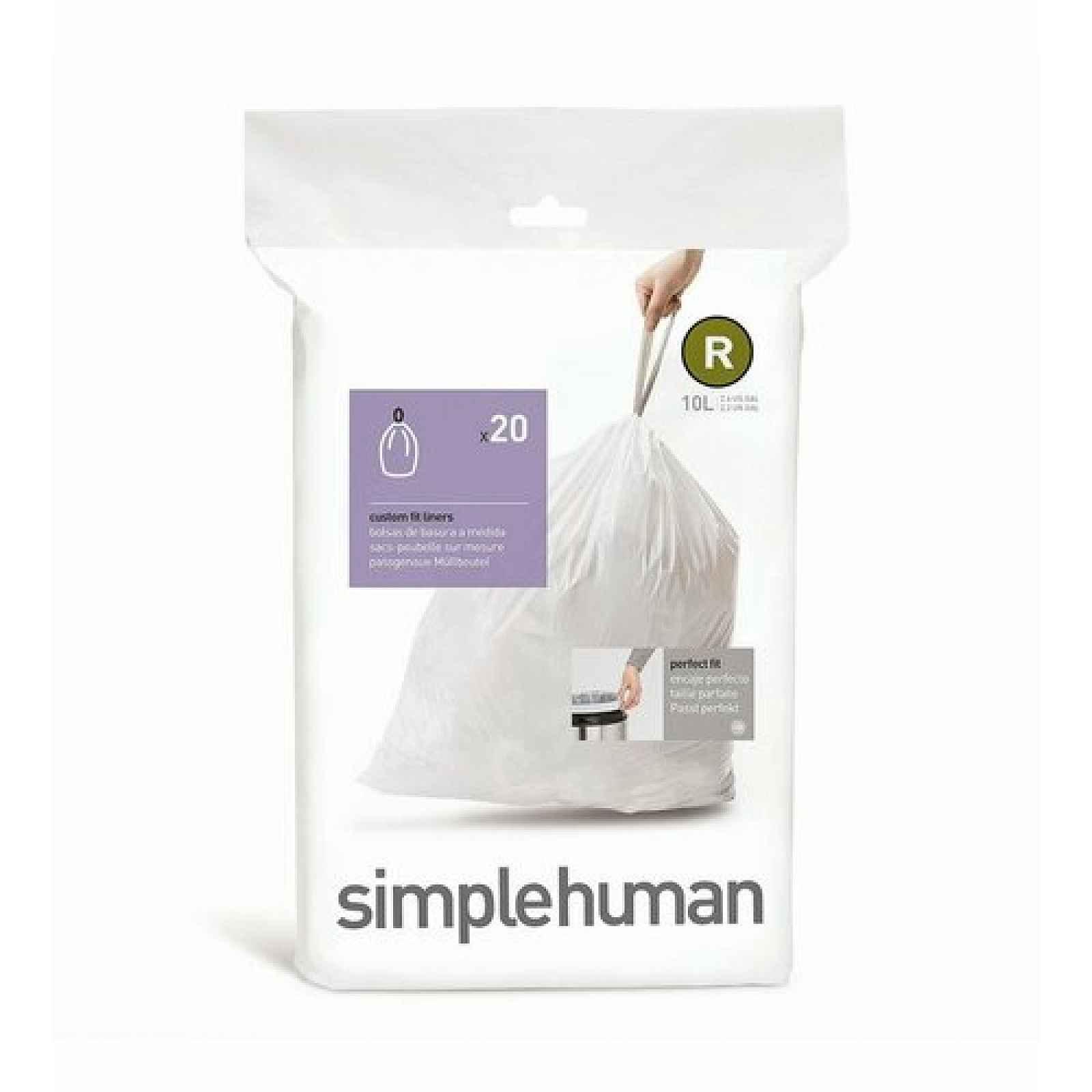 Sáčky do odpadkového koše 10 L, Simplehuman typ R, zatahovací, 20 ks v balení