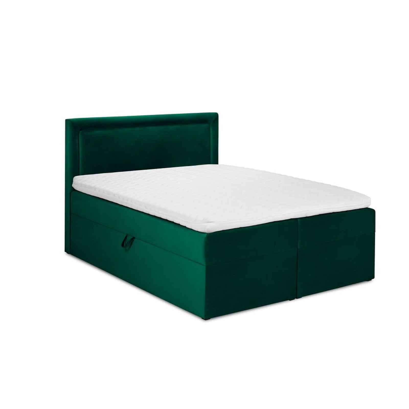 Zelená sametová dvoulůžková postel Mazzini Beds Yucca,160x200cm