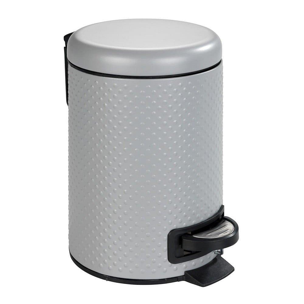 Šedý koupelnový odpadkový koš z oceli Wenko Punto,3l