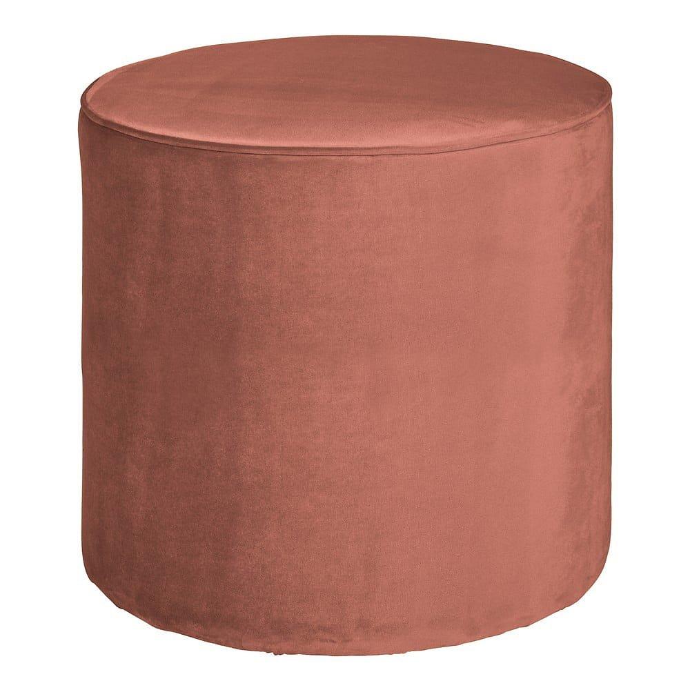 Růžový puf WOOOD Sara, ⌀ 46 cm