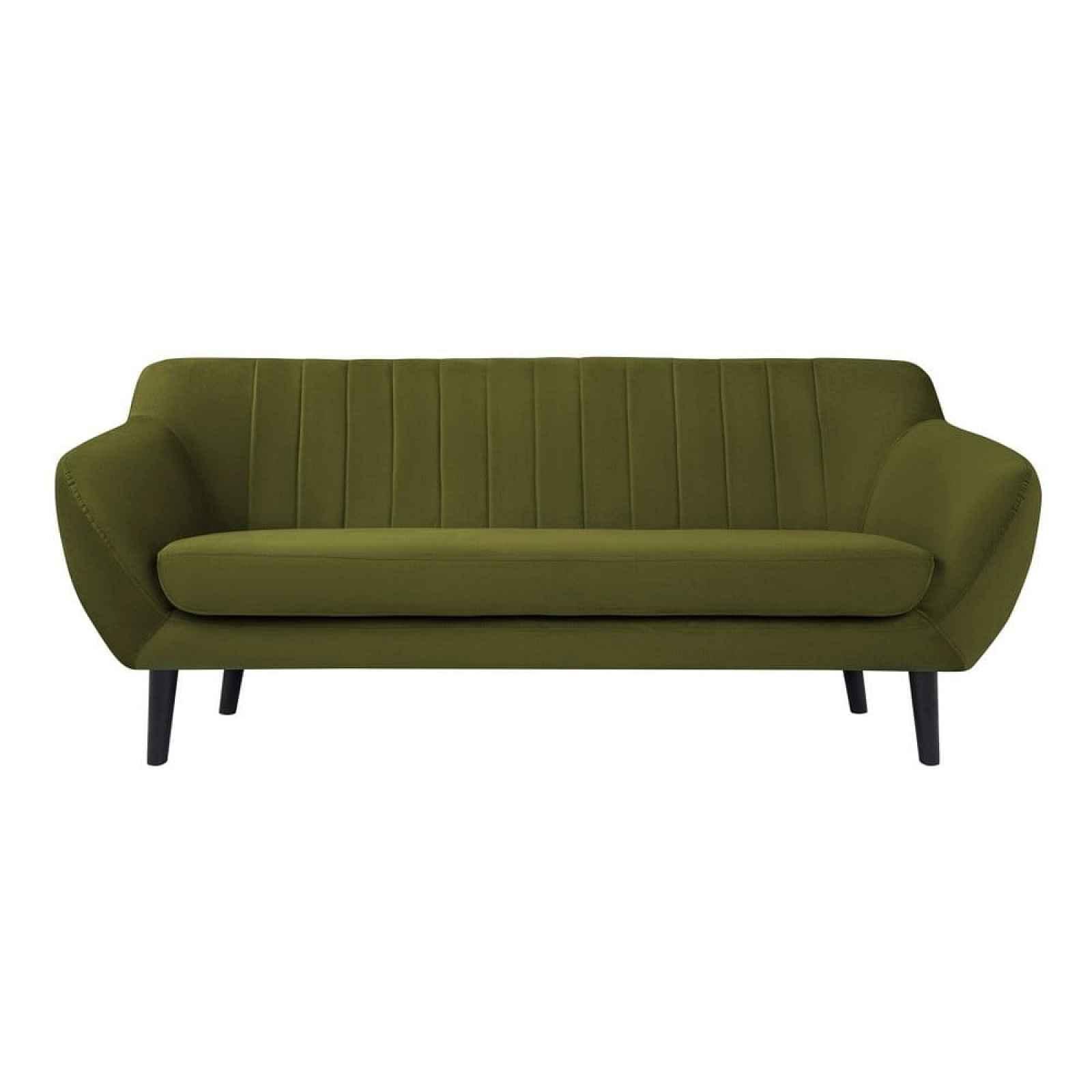 Zelená pohovka pro tři Mazzini Sofas Toscane, černénohy