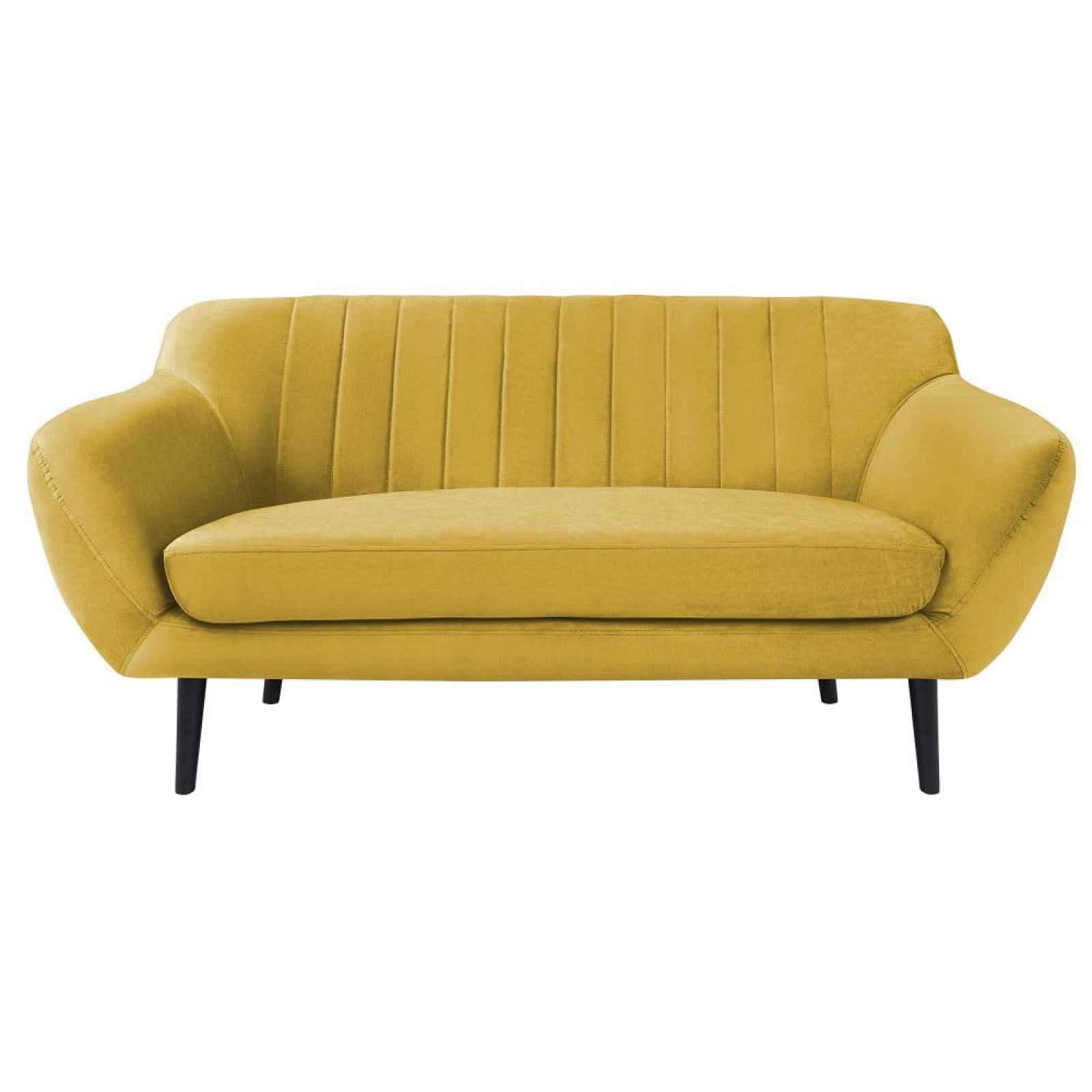 Žlutá pohovka pro dva Mazzini Sofas Toscane, černénohy