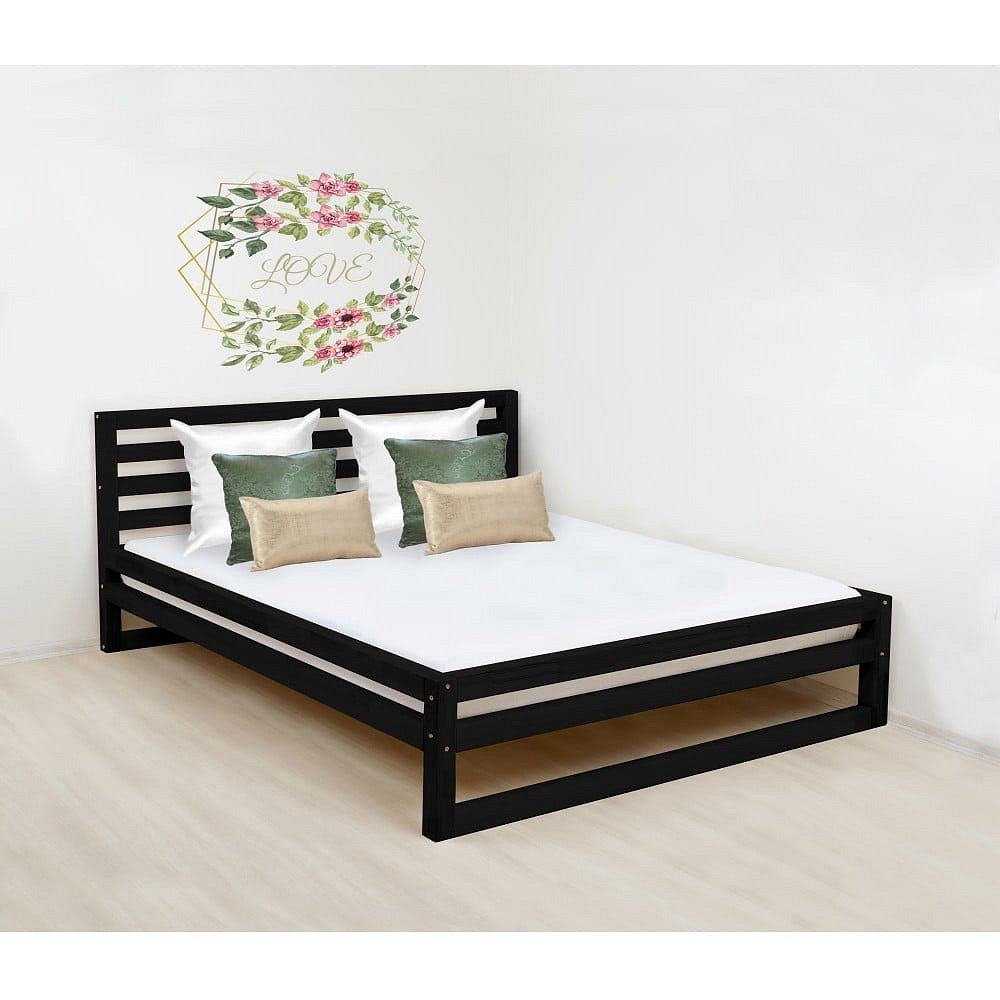 Černá dřevěná dvoulůžková postel Benlemi DeLuxe, 200x180cm