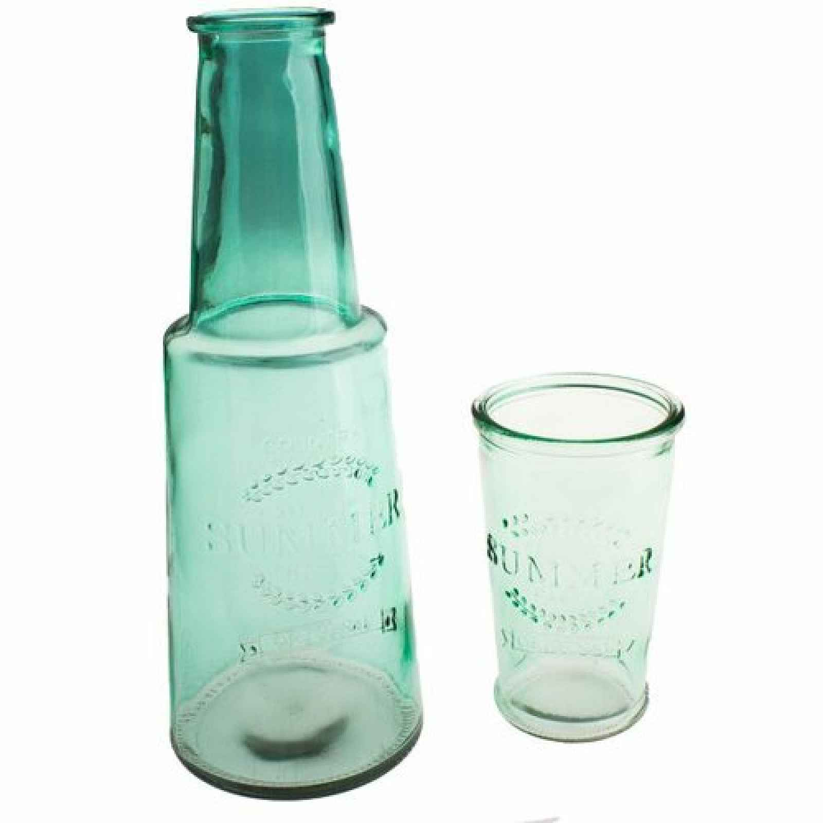 Karafa se skleničkou, zelená