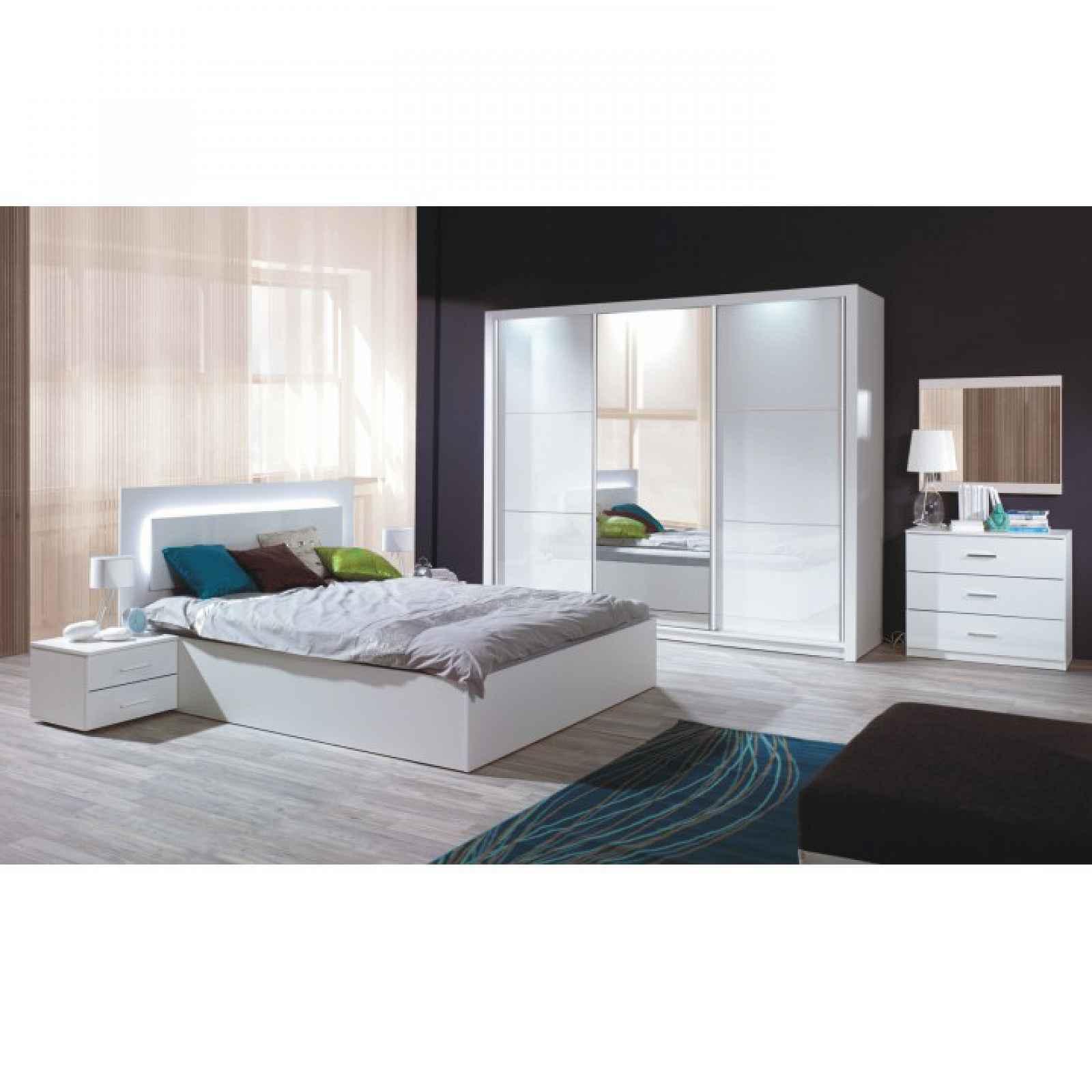 Ložnicový komplet (skříň+postel 160x200+2 x noční stolek), bílá / vysoký bílý lesk HG, ASIENA 0000210561 Tempo Kondela