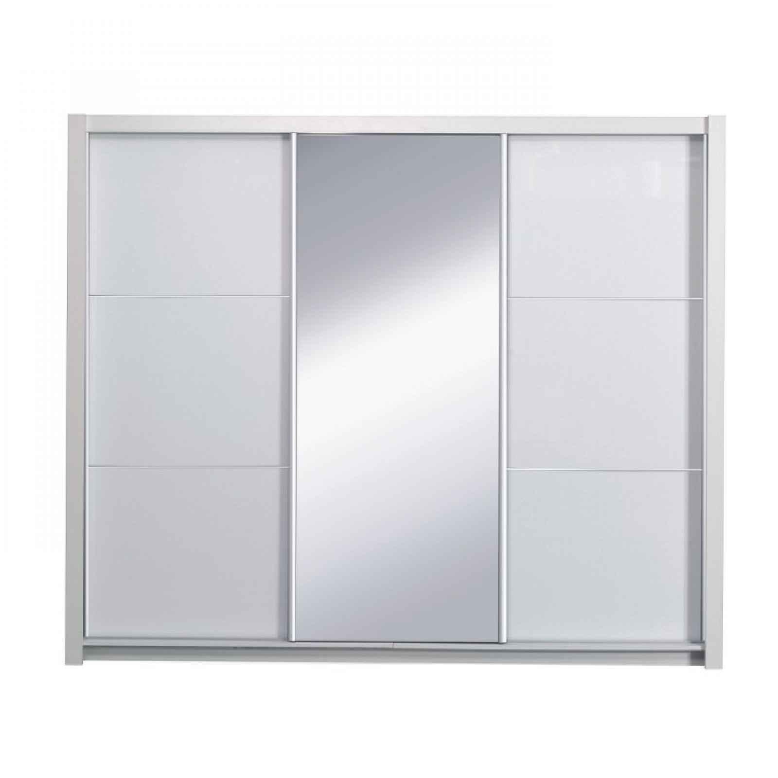 Skříň s posuvnými dveřmi, bílá / vysoký bílý lesk, 258x213, ASIENA 0000210566 Tempo Kondela