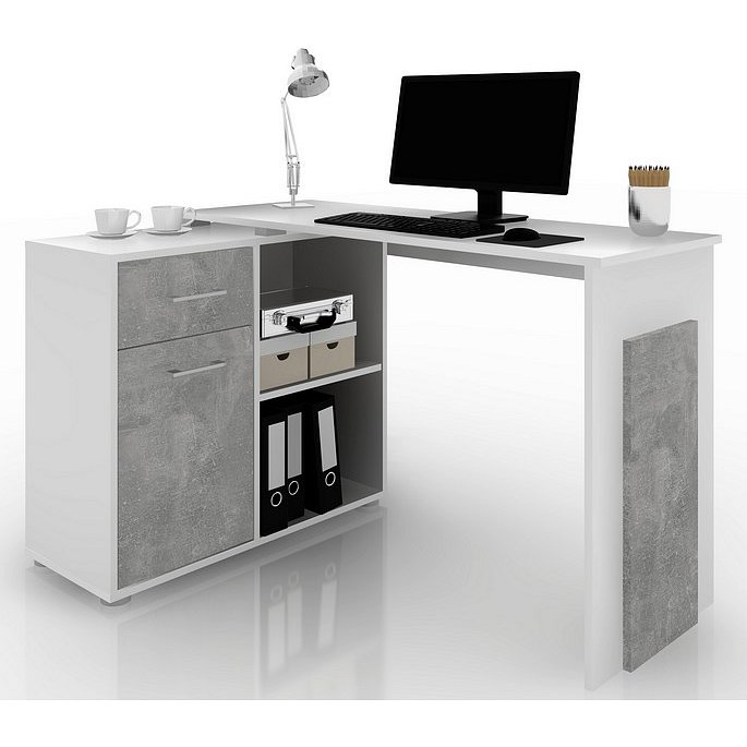 Rohový psací stůl Andy, bílá/šedý beton