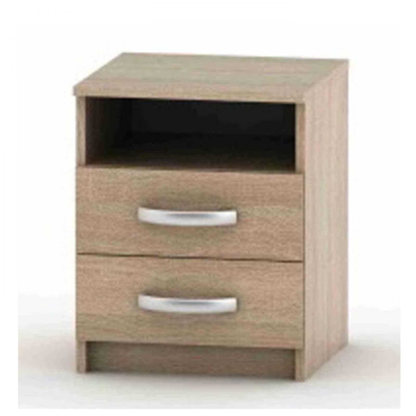 Noční stolek s 2 šuplíky, dub sonoma, BETTY 2 0000039930 Tempo Kondela