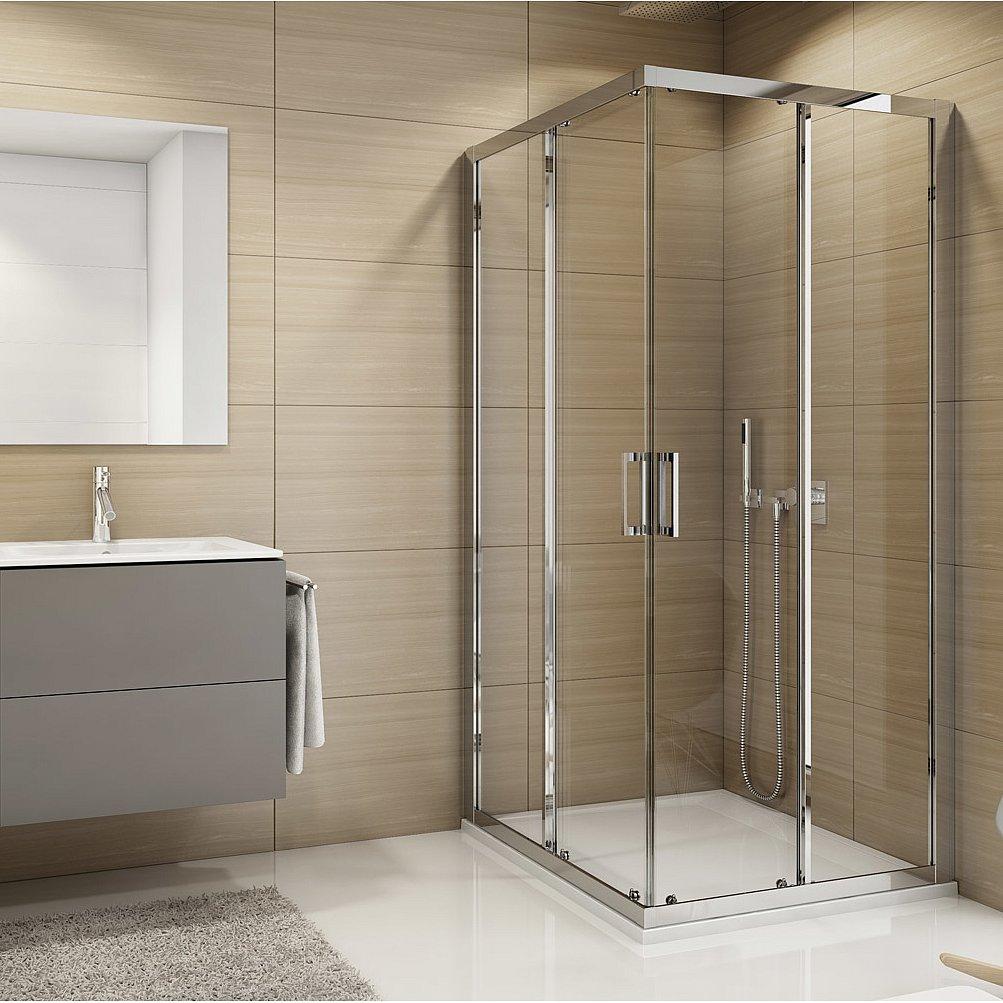 Kout sprchový čtvercový SanSwiss TOPAC 900 mm, Aluchrom, Durlux