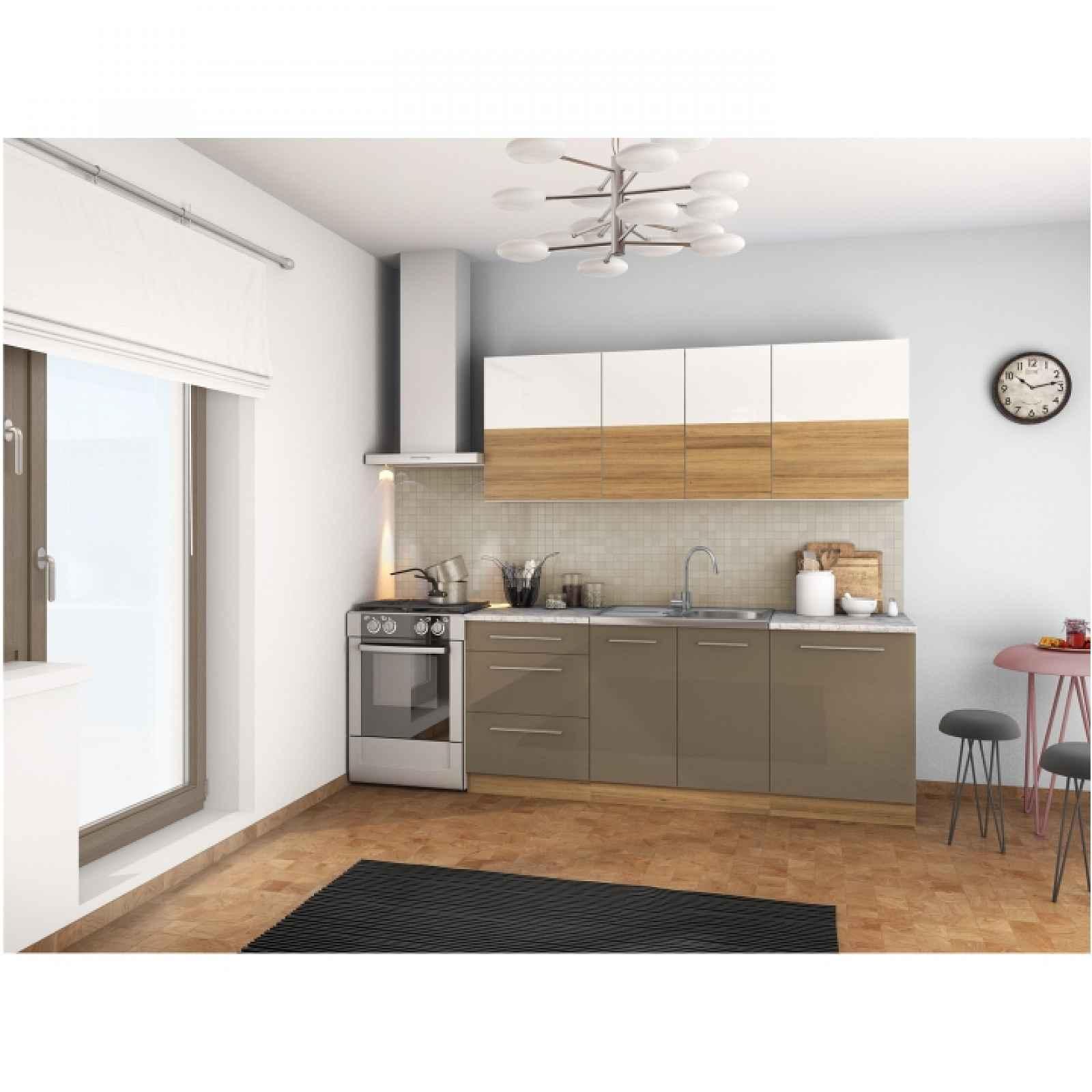 Kuchyňská linka, bílý lesk / světlý ořech / cobalt šedý lesk, SERGIO 0000211120 Tempo Kondela