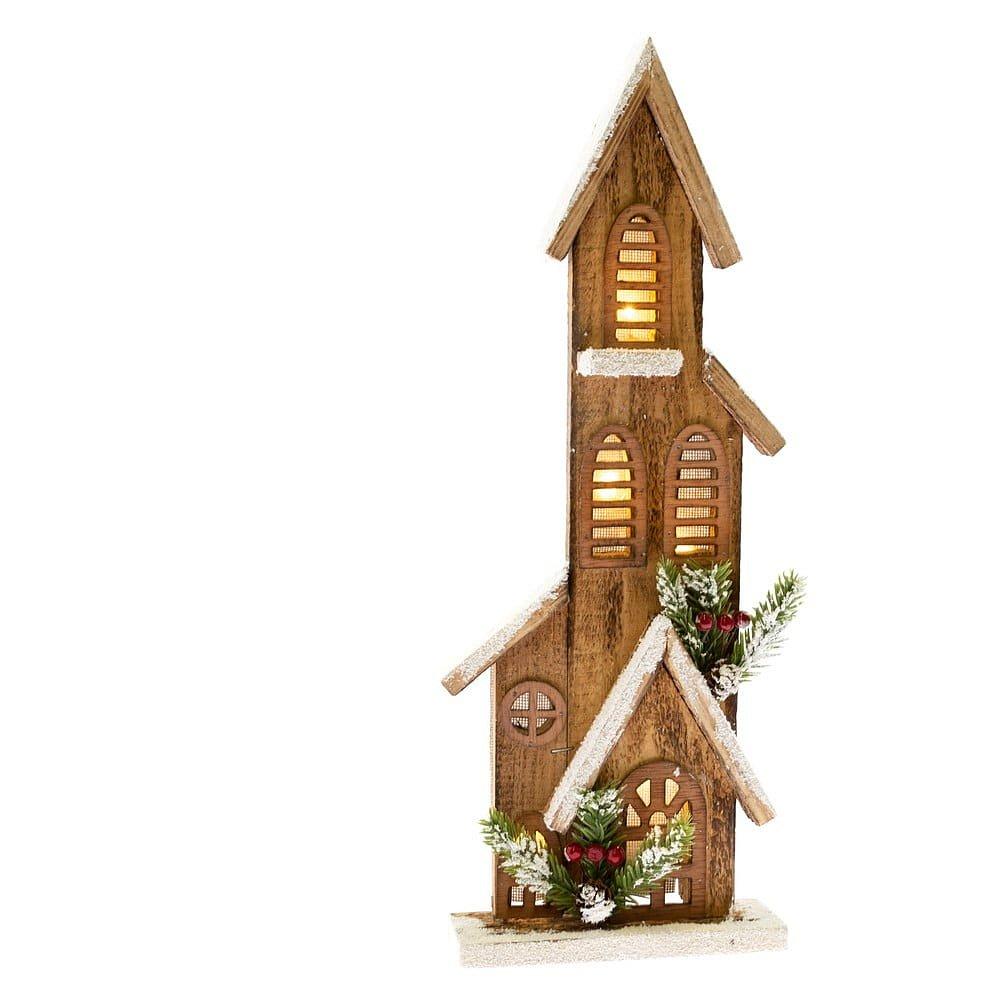 Dřevěná dekorace ve tvaru domečku se světlem Dakls, výška 40 cm