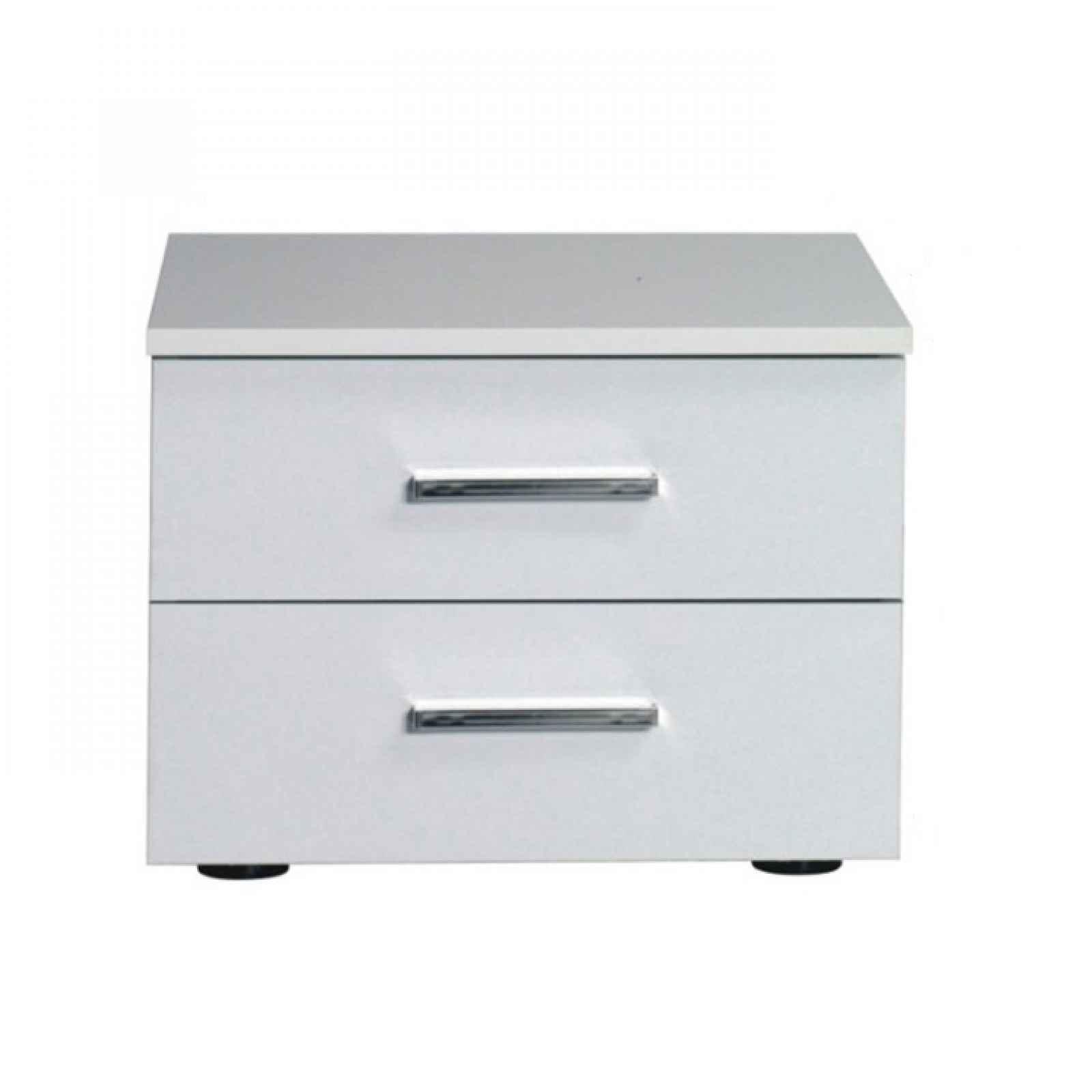 Noční stolek, 2 kusy, bílá / vysoký bílý lesk HG, ASIENA 0000210567 Tempo Kondela