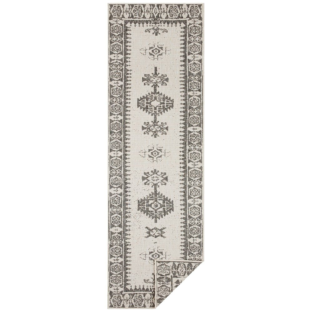 Šedo-krémový venkovní koberec Bougari Duque, 80 x 350 cm