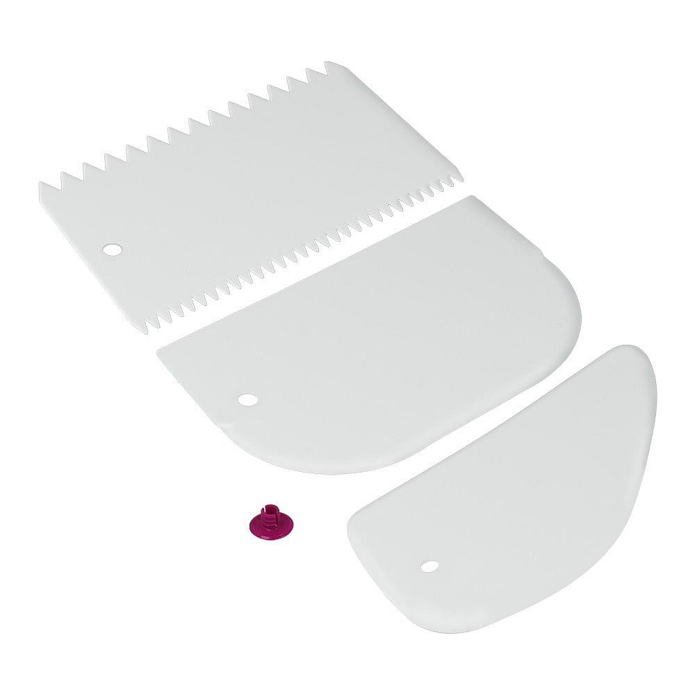 Sada 3 bílých plastových stěrek Metaltex