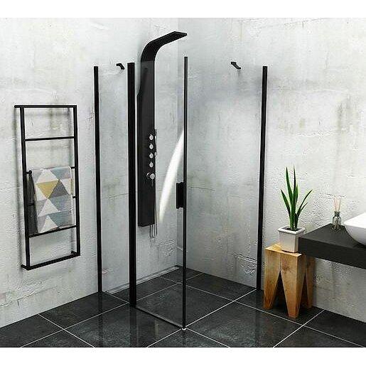 Boční zástěna ke sprchovým dveřím 100x200 cm Polysan Zoom černá matná ZL3210B