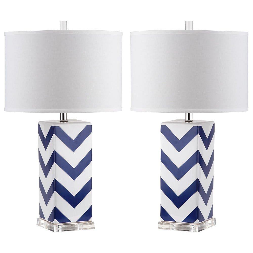 Sada 2 stolních lamp s modrobílou základnou Safavieh Gabriella