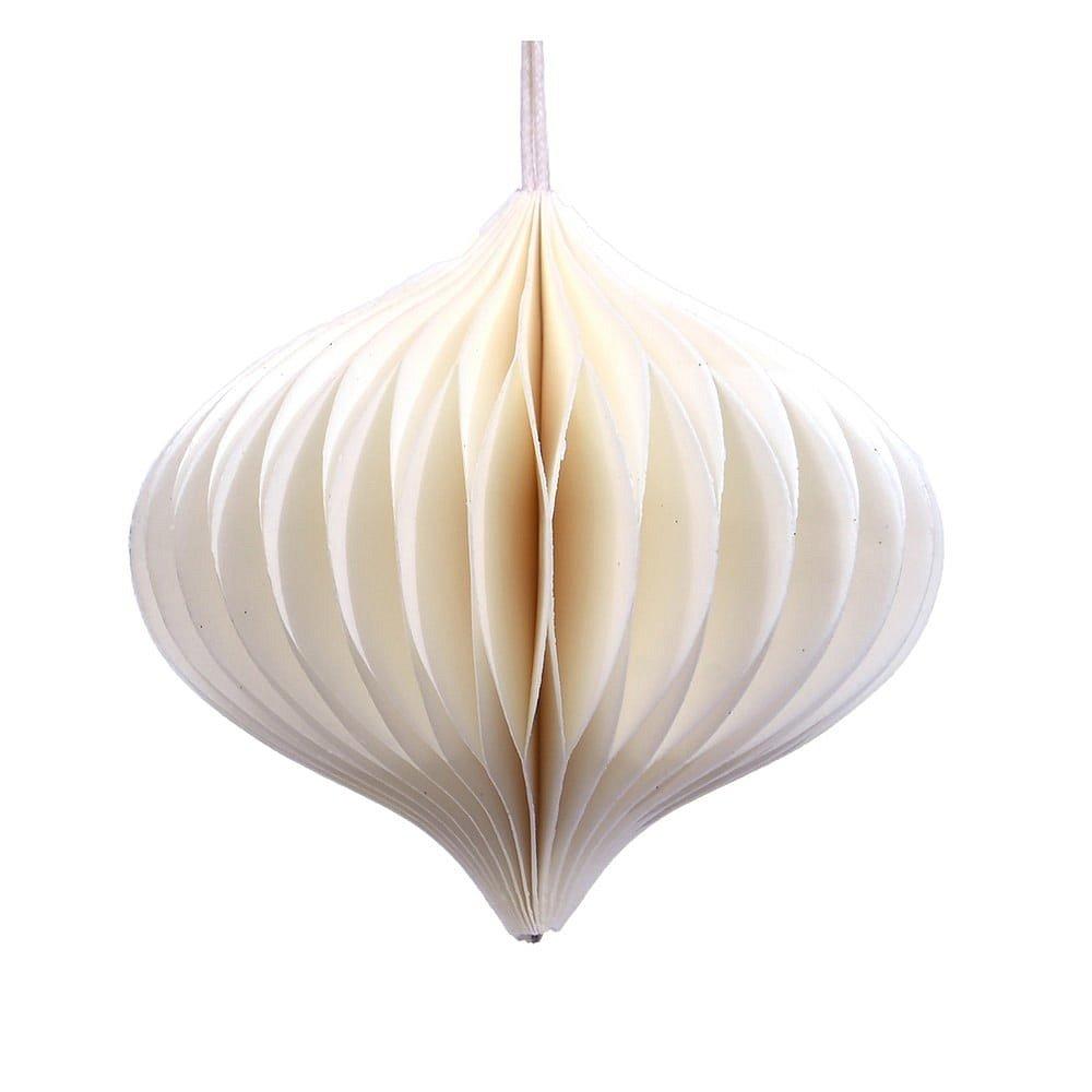 Bílá papírová vánoční ozdoba Only Natural, délka 10 cm