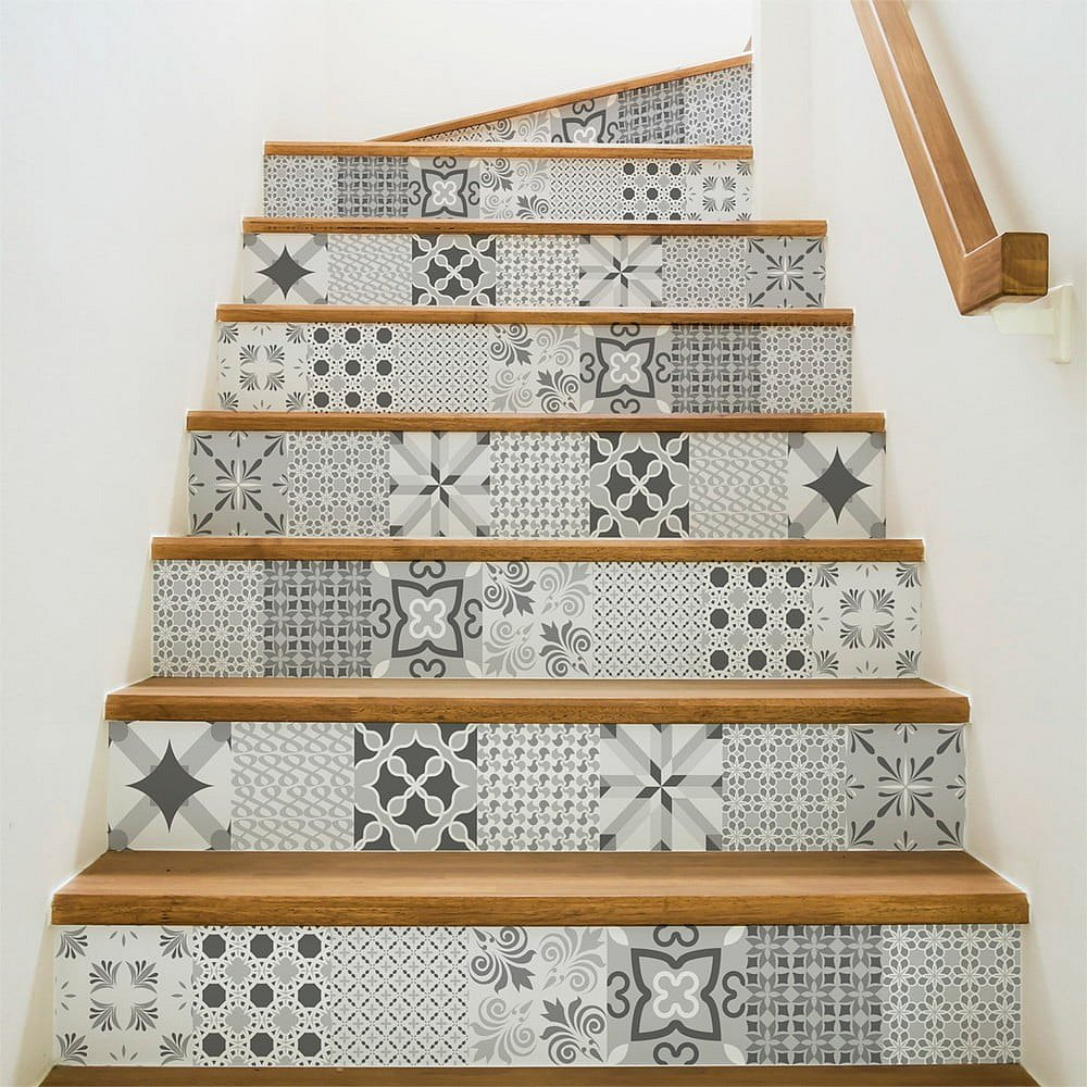Sada 2 samolepek na schody Ambiance Romantic Grey, 15 x 105 cm