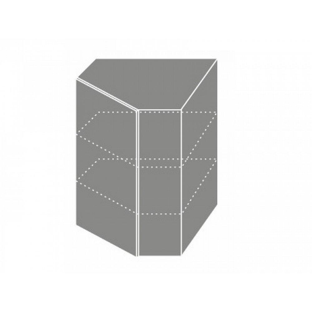 QUANTUM, skříňka horní rohová W 10, white mat/grey