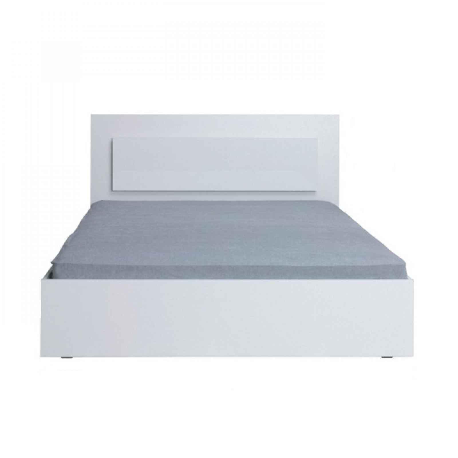 Manželská postel, 160x200, bílá / vysoký bílý lesk HG, ASIENA 0000210563 Tempo Kondela