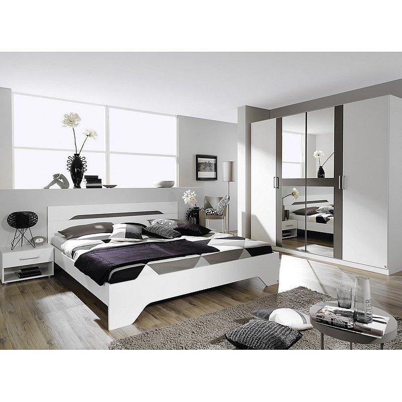 Sestava ložnice Rubi, bílá/šedá