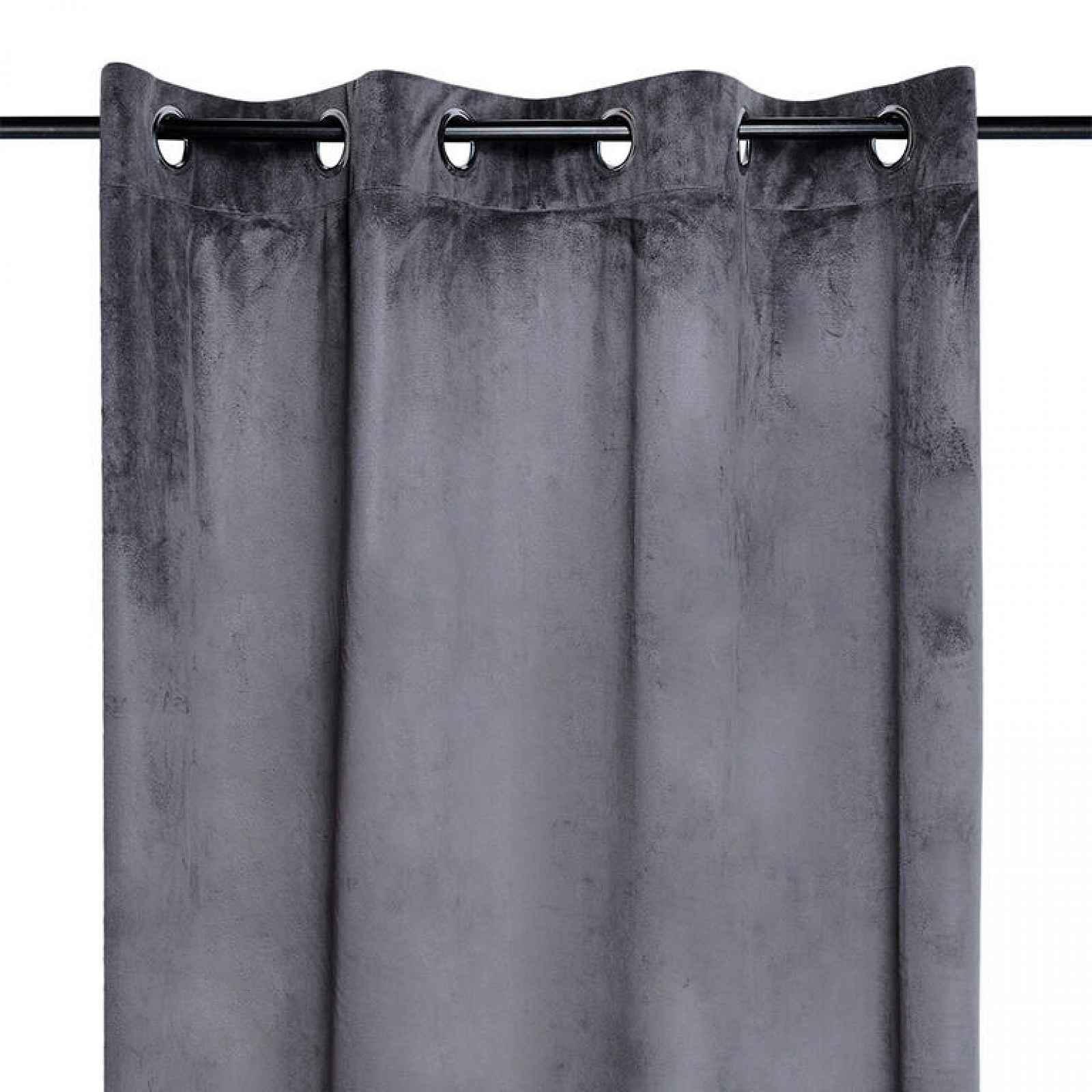 Dekorační velurový závěs DANAÉ tmavě šedý 140 x 260 cm 2 ks