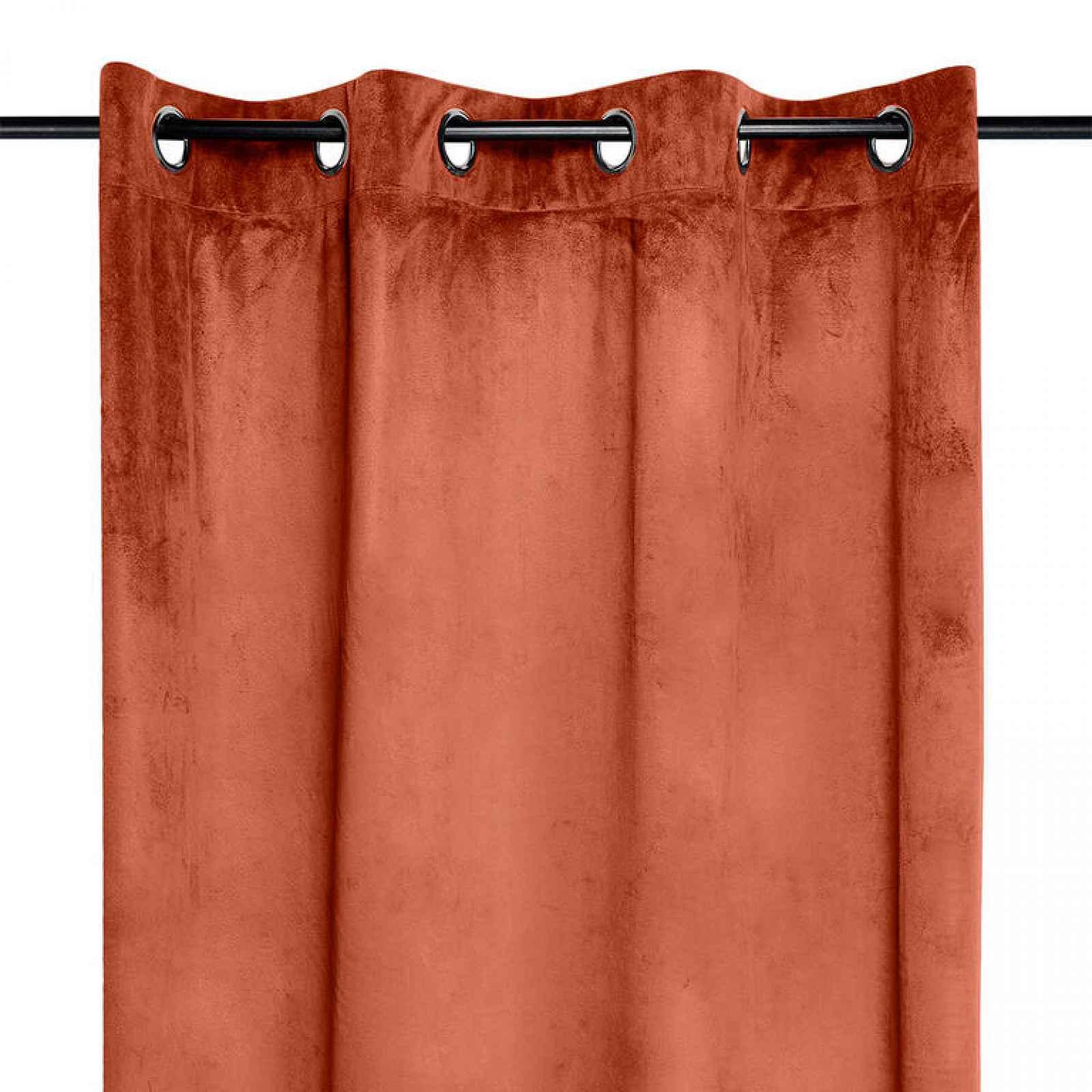Dekorační velurový závěs DANAÉ cihlový 140 x 260 cm 2 ks