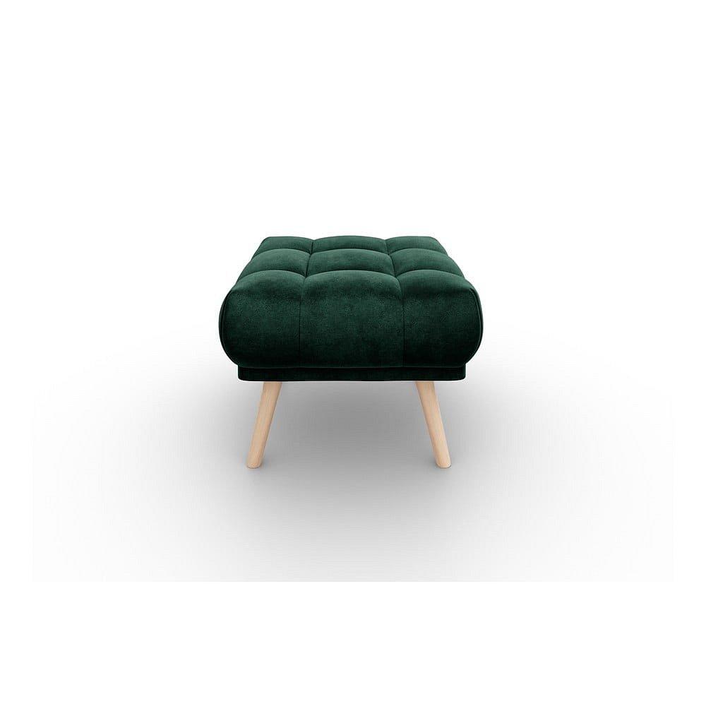 Tmavě zelená sametová podnožka Interieurs 86 Étoile