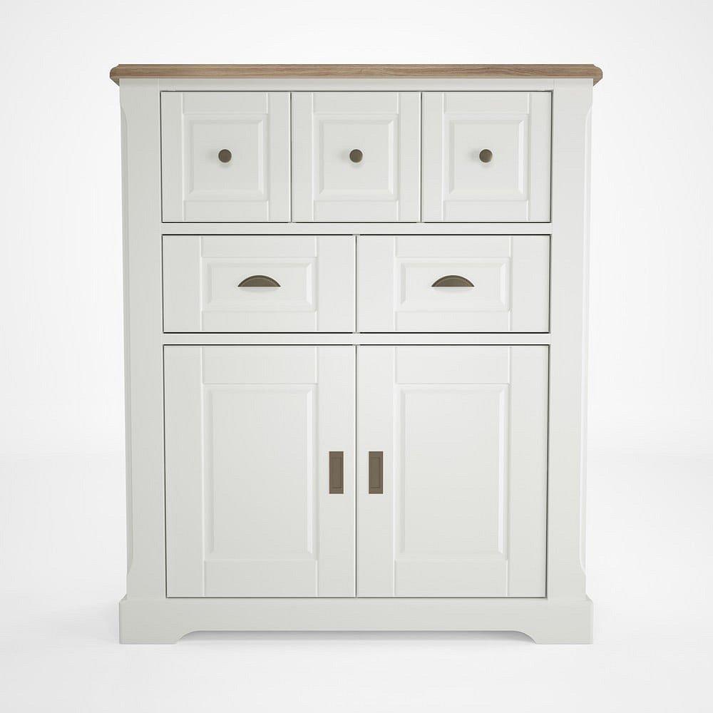 Bílá dřevěná vitrína s 5 šuplíky Artemob Campton