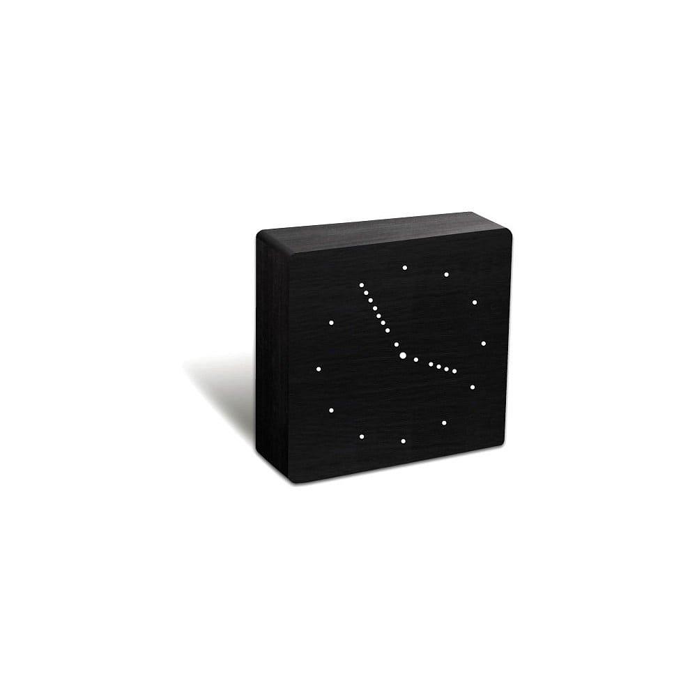 Černý budík s bílým LED displejem a rádiem Gingko Analogue Click Clock