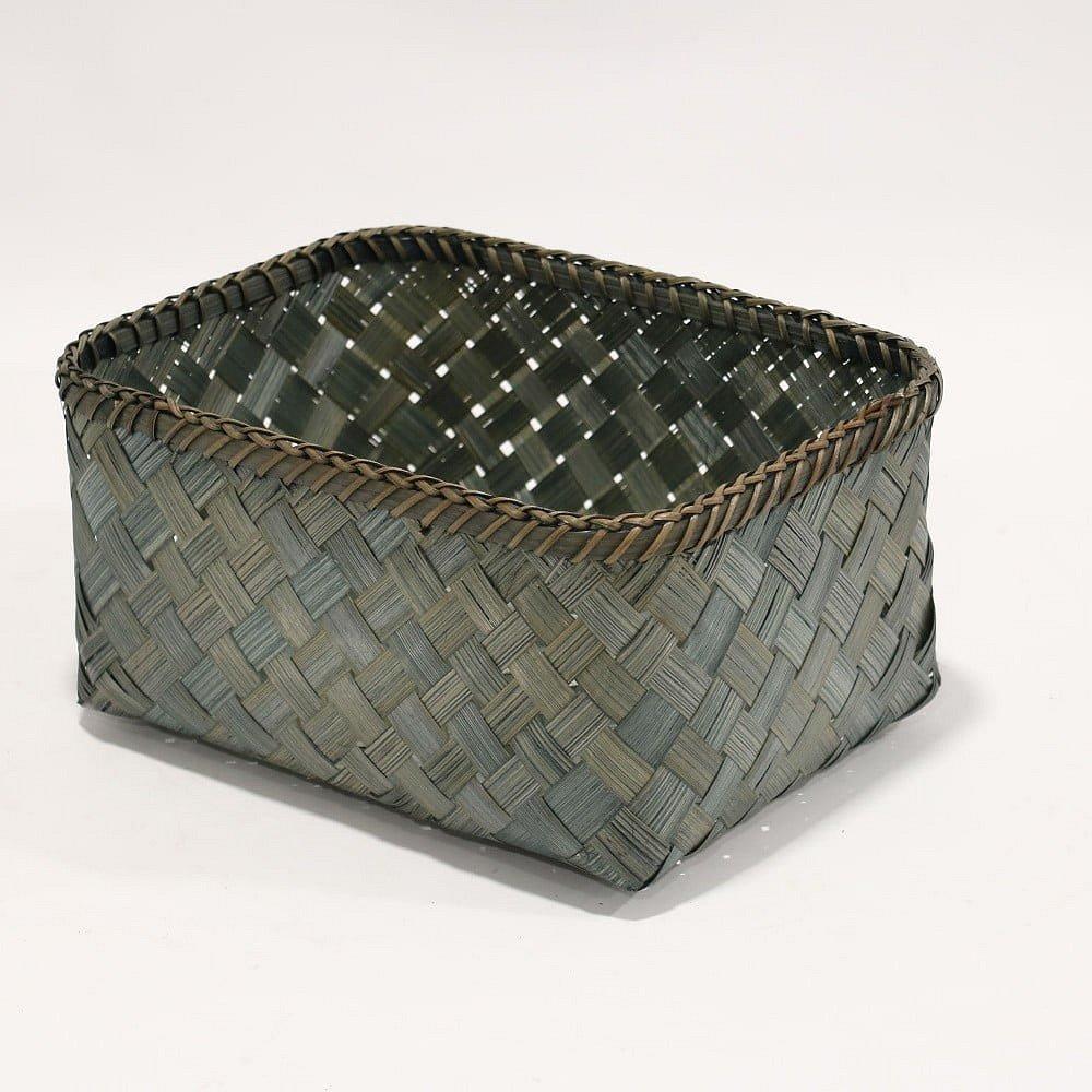 Zelený úložný košík z bambusu Compactor