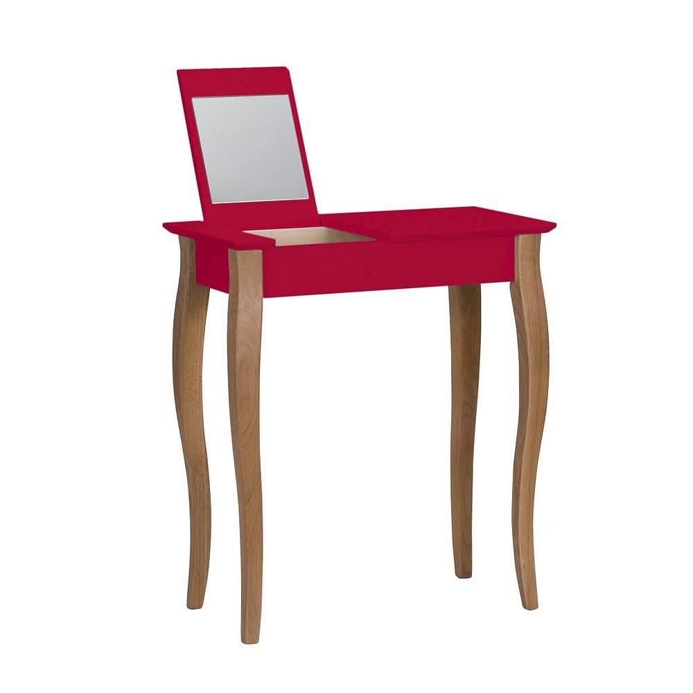 Červený toaletní stolek se zrcadlem Ragaba Lillo, šířka65cm