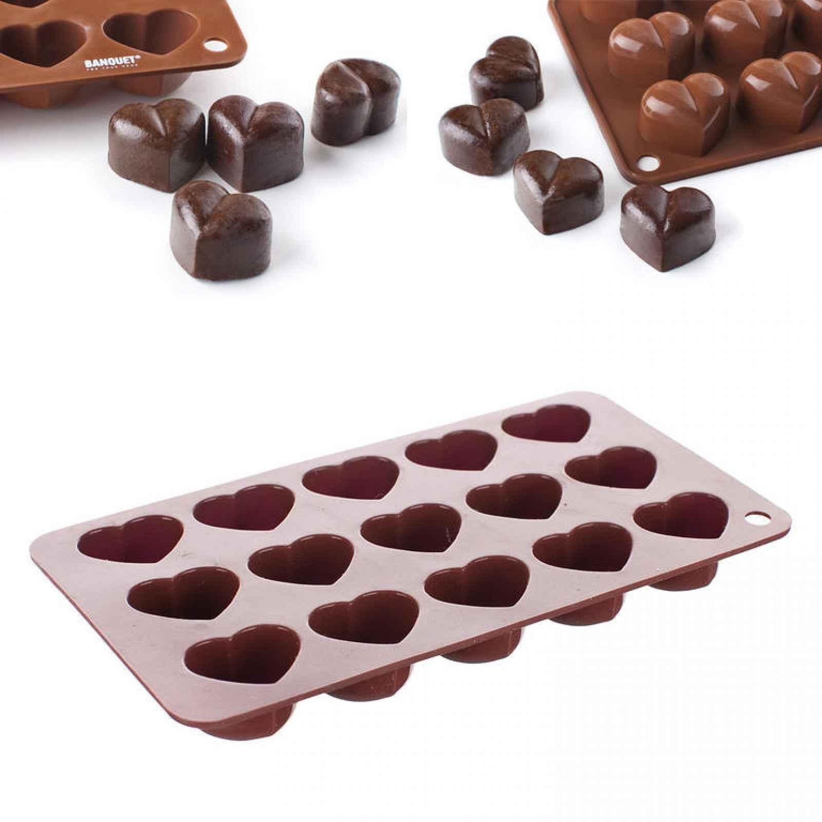 Banquet Formičky na čokoládu silikonové Culinaria Brown serdíčka 20,5x10,5 cm