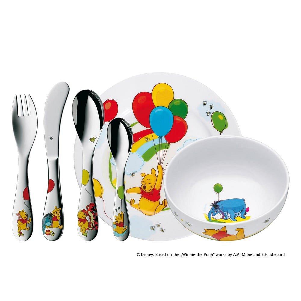 6dílná sada dětských nerezových příborů a nádobí WMF Medvídek Pů