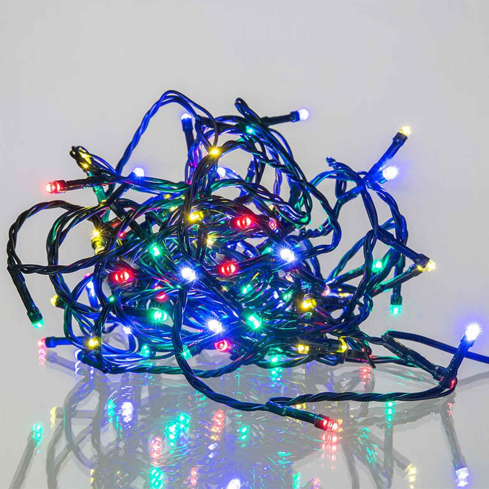 Světelný řetěz barevný, 8 funkcí 120 LED, 12 + 5 m