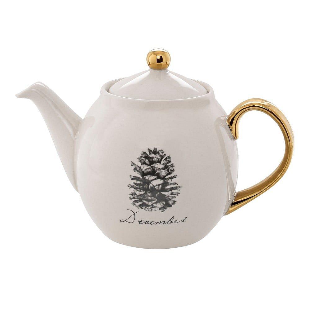 Bílá kameninová čajová konvice Bloomingville Maria December, 1,2 l