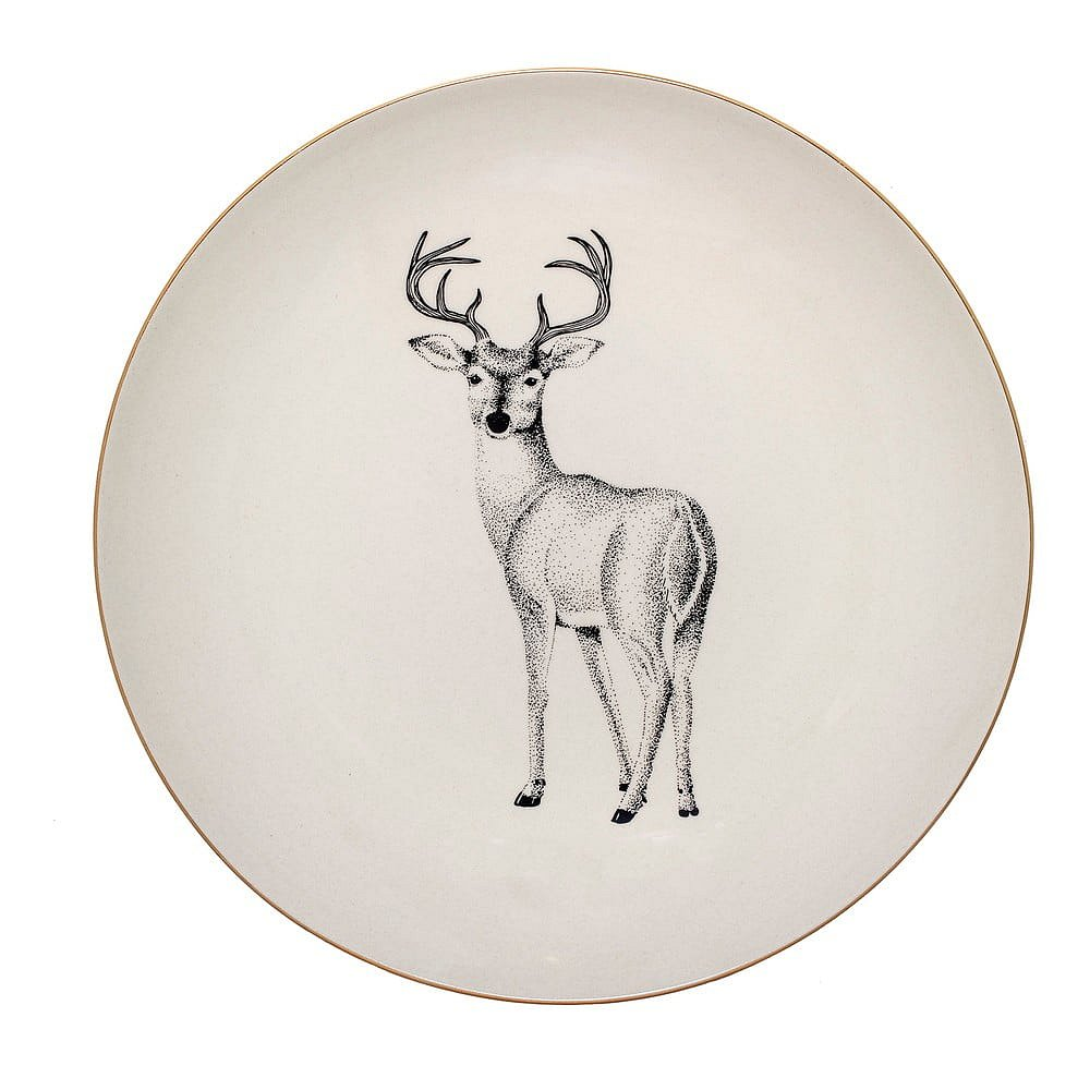 Bílý kameninový talíř Bloomingville Noel, ⌀ 25 cm