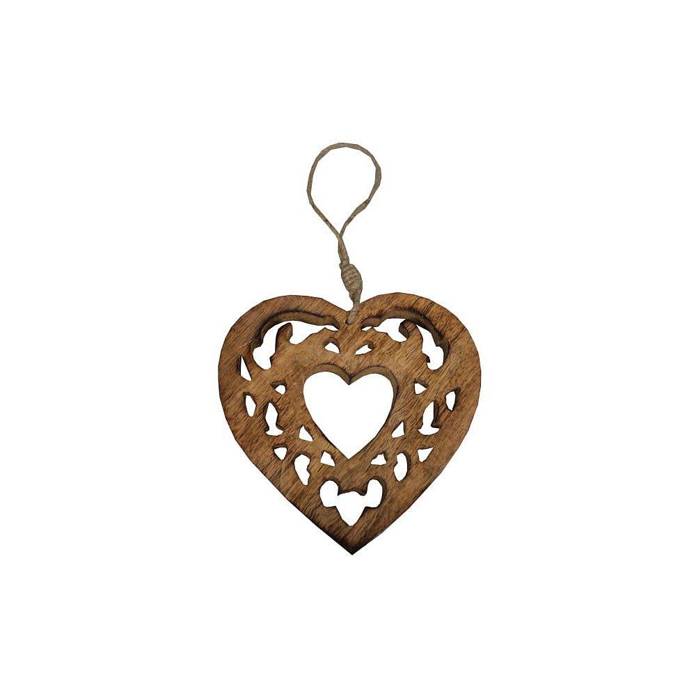Závěsné vyřezávané srdce AnticLine Wood