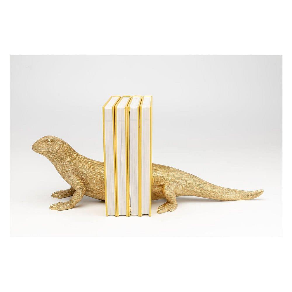 Sada dvou zarážek na knihy vezlaté barvě Kare Design Lizard