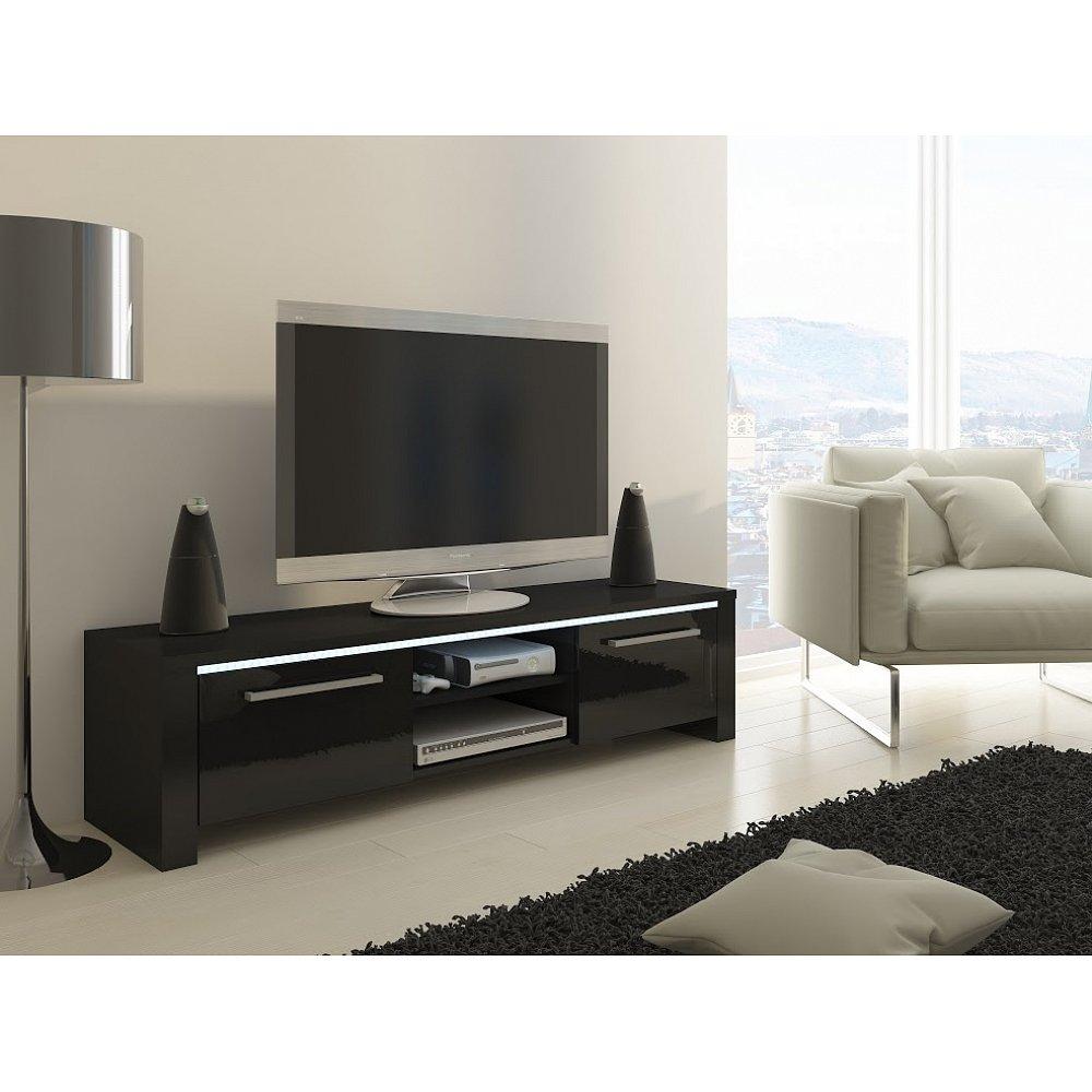 TV stolek HELIX, černá/černý lesk