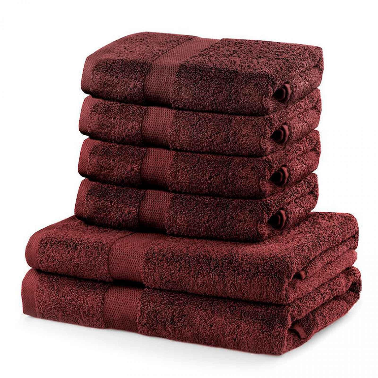 DecoKing Sada ručníků a osušek Marina červená, 4 ks 50 x 100 cm, 2 ks 70 x 140 cm DecoKing Sada ručníků a osušek Marina hnědát, 4 ks 50 x 100 cm, 2 ks 70 x 140 cm
