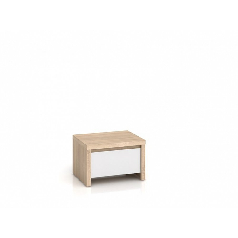 KASPIAN, noční stolek KOM1S, sonoma/bílý lesk