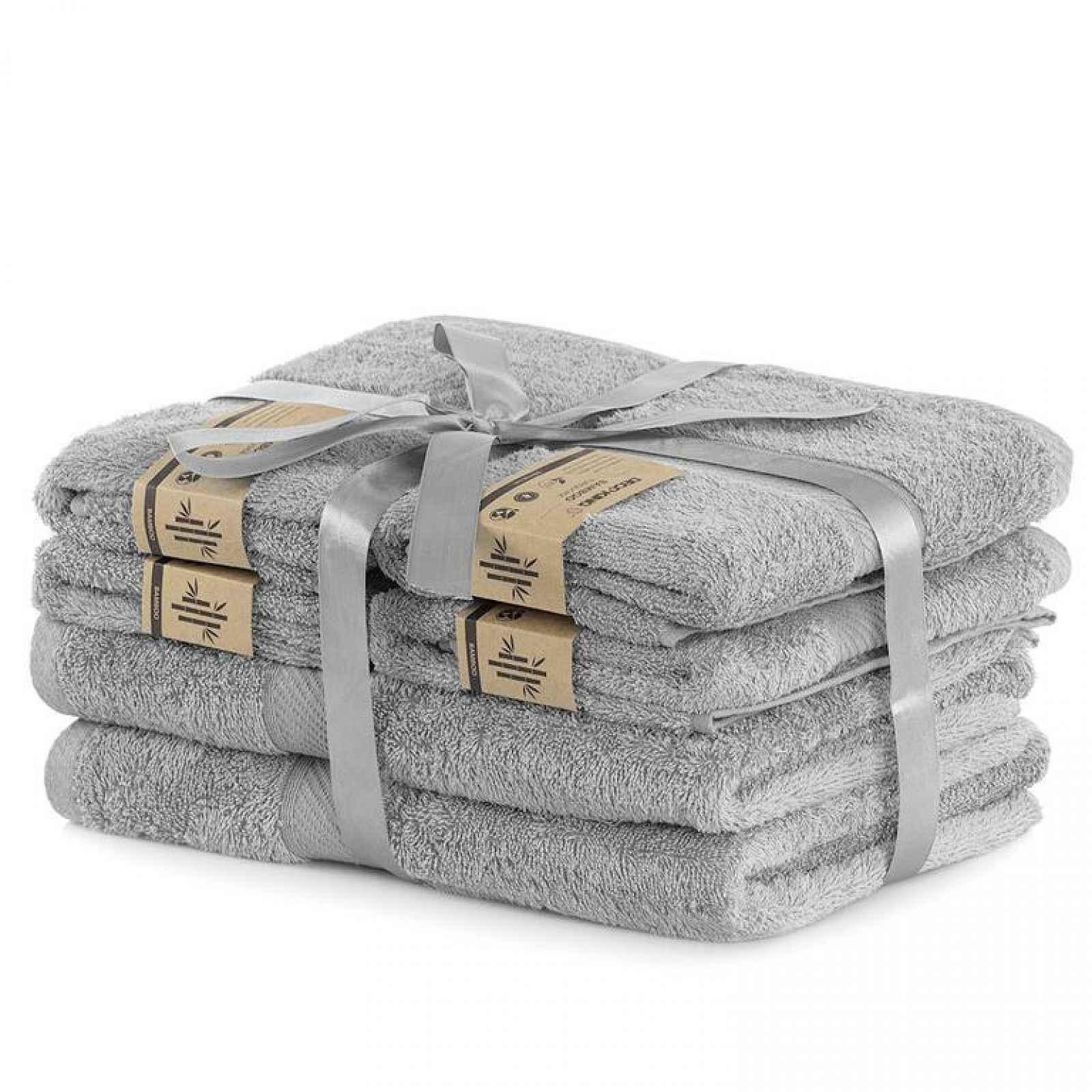 Sada bambusových ručníků a osušek BAMBY světle šedá 6 ks