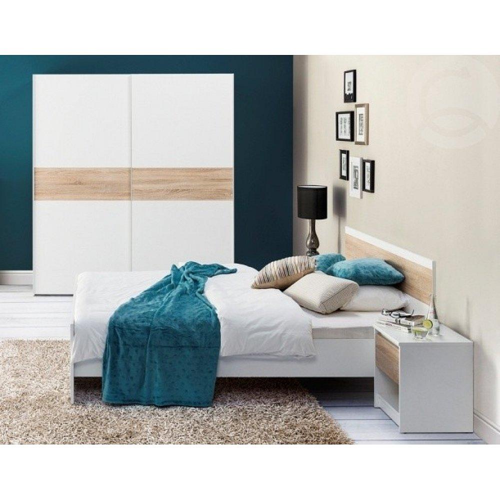 Ložnice VENECIA, postel 160+ skřín + 2xNS, bílá/dub sonoma
