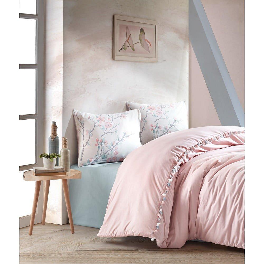 Pudrově růžové bavlněné povlečení s prostěradlem Cotton Box Linda, 200 x 220 cm